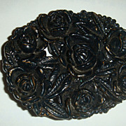 "Black Plastic or Celluloid Large Oval Pin/Brooch With Roses 2 1/2"" x 2"""