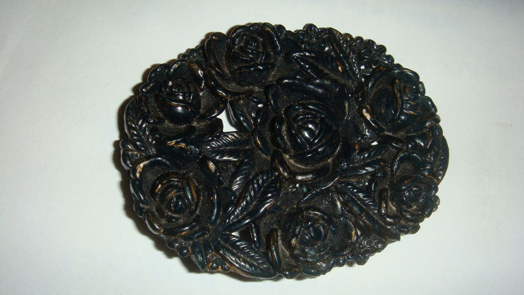 """Black Plastic or Celluloid Large Oval Pin/Brooch With Roses 2 1/2"""" x 2"""""""