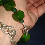 Chunky Green/Gold Marbled Bakelite Bracelet Sterling Silver Wire & Toggle