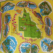 "Beautiful Large Square ""Queensland"" Australia  Vintage Colorful Table Linen"