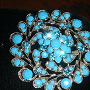 Silvertone Vintage Dimensional Brooch Faux Turquoise Faceted Stones Blue Rhinestones