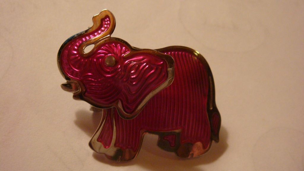 1980's Berebi Cool Mechanical Elephant Pin/Brooch Hot Pink Enameled Look