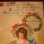 Unused B.E.B. Early Christmas Postcard Little Girl With HUGE Muff & Bonnet Red Ribbon to Match Shoes!