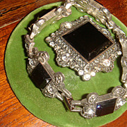 Demi-Parure Monet Art Deco Style Bracelet & Brooch Glass or Enamel & Crystal Rhinestones