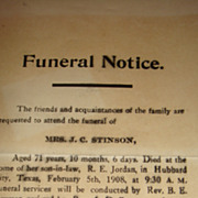 1908 Funeral Notice Hubbard City, Texas Unusual Epehemera Invitation