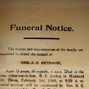 1908 Funeral Notice Hubbard City, Texas Unusual Epehemera Invitation