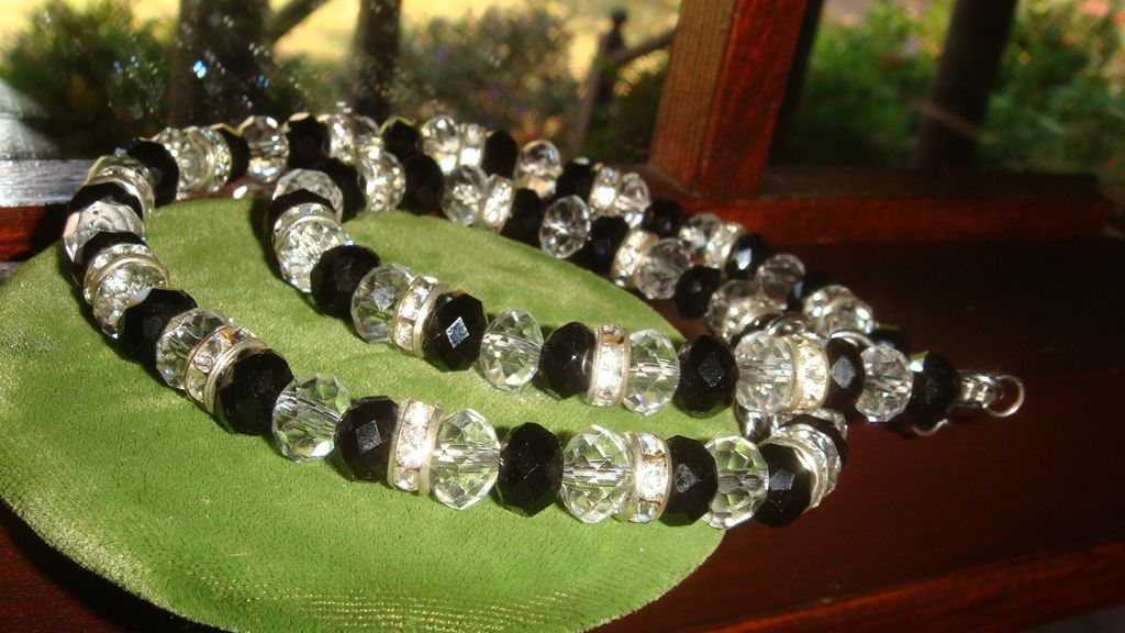Silvertone Necklace Black and Clear Crystals Roundelles