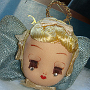 Beautiful Vintage Stocking Head Christmas Praying Angel Christmas  Ornament