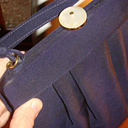 New Old Stock Vintage Navy Blue File Pleated Handbag Mother of Pearl Clasp