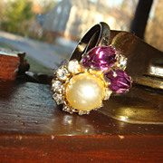 Prong Set Purple and Clear Rhinestones & Faux Pearl Costume/Cocktail Ring Well Made Size 8 Adjustable