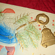 Heavily Embossed Blue Robed Santa Rings Gold Gilt Bells Christmas Postcard Early 1900's