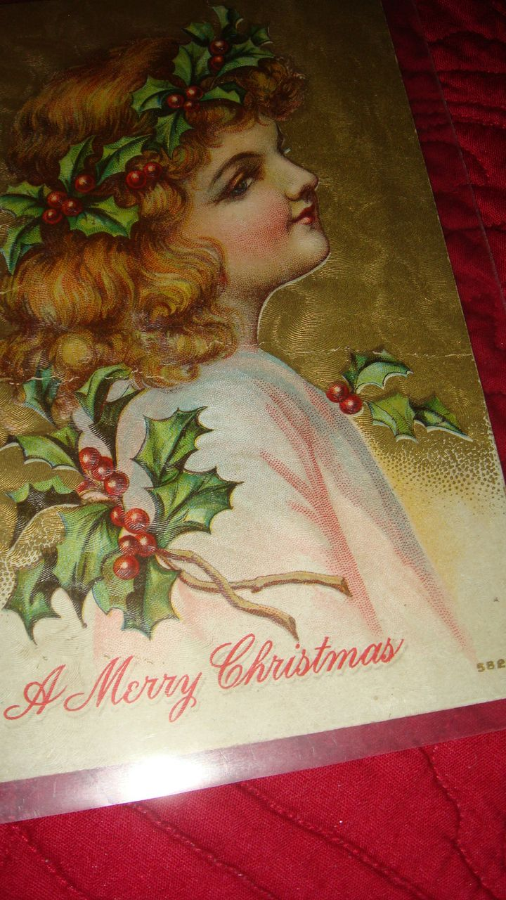 Rosy Cheeks Angel Child With Holly Berries & Leaves in Wavy Hair Christmas Embossed Postcard