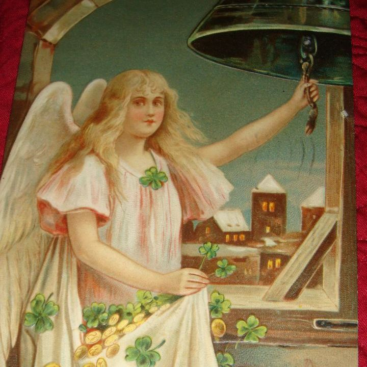 1910 German Embossed New Year's Postcard Angel Girl in Bell Tower Rings in New Year With Gold and 4 Leaf Clovers