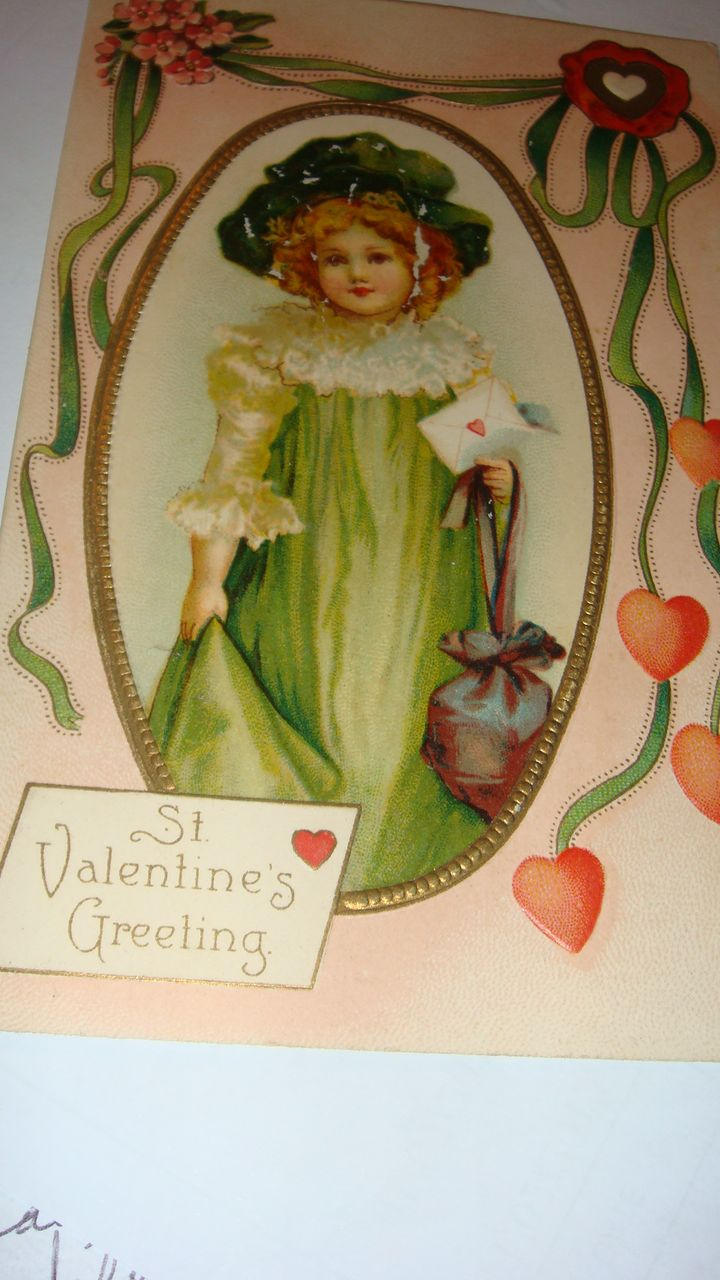 1912 Embossed Valentine's Day Postcard Adorable Little Girl in Green, Framed in Gold Gilt and Streaming Hearts & Flowers