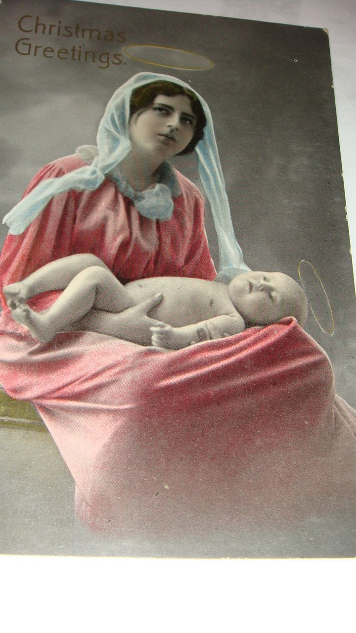 Christmas Gel Real Photo Postcard Made in Saxony Mother & Baby