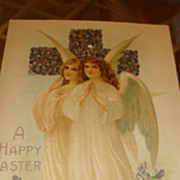 Angels Embossed German Easter Postcard Cross Covered With Purple Violets Early 1900's