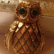 Owl Pin Brooch Dimensional Solid Perfume Figural Vanda Green Rhinestone Eyes