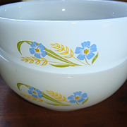 2 'Forget Me Not' Fire King Chili Cereal Bowls 'Blue & Gold'