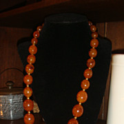 Long  Faux Amber Graduated Large Beads Necklace