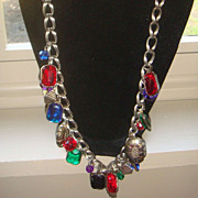 Long Necklace Double Loop Chain Charm With Dangling Lucite Charms, Beads, and Baubles