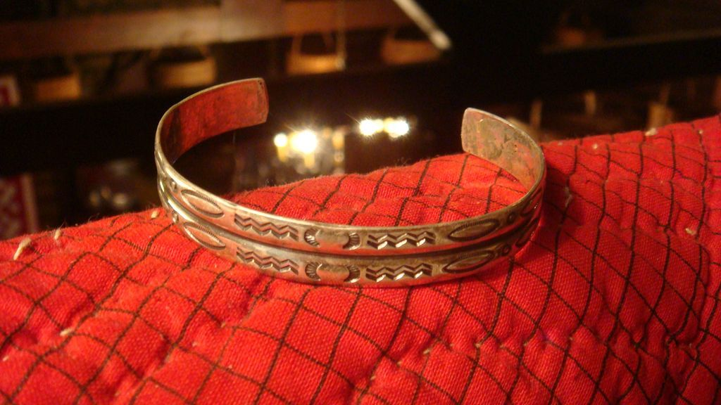 Sterling Silver Tribal Cuff Bracelet Simple Mirrored Design