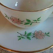 Fire King Anchor Hocking Anniversary Rose Cup & Saucer Gold Rim