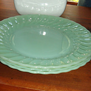 Set of 3 Anchor Hocking Fire King Jadite Shell Dinner Plates See Pictures