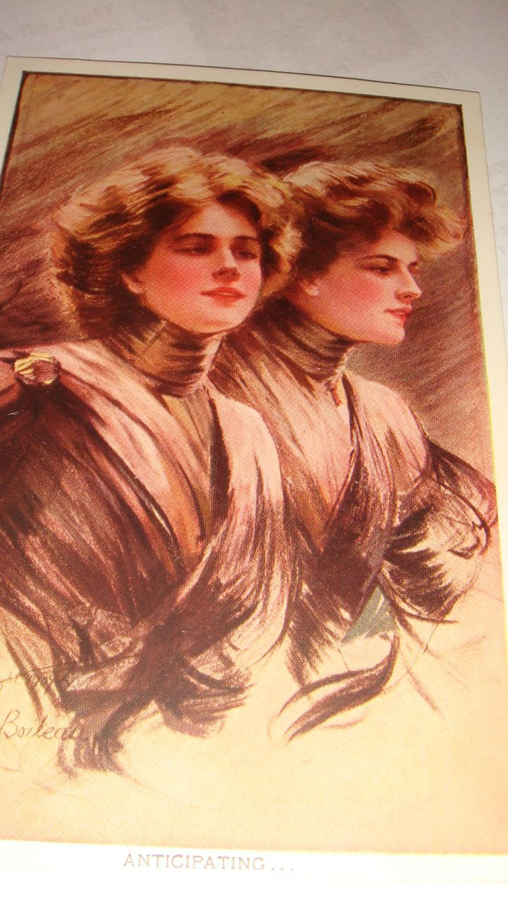 Artist Signed 'Anticipating' Philip Boileau 1907 Postcard Twin Ladies