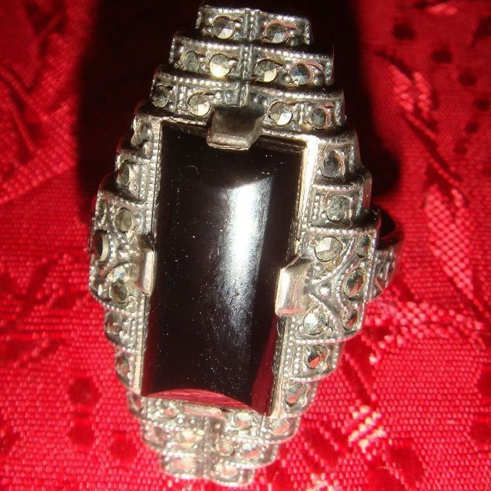 Art Deco Sterling Silver Elongated Onyx Marcasites Ring