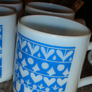 Bright Blue & White Opaque Pedestal Mug Hearts, Diamonds, Circles & Tulips