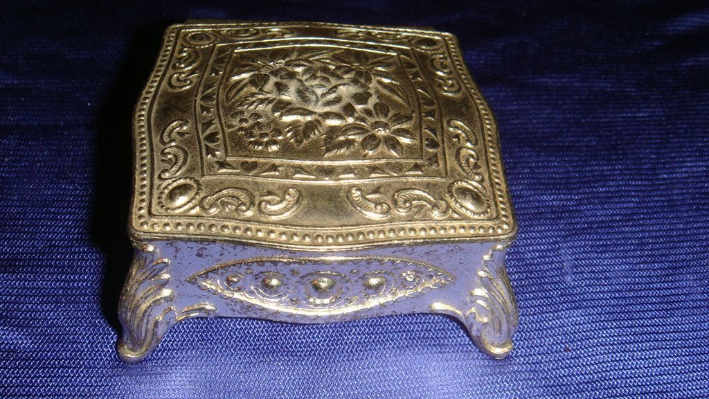 Ornate Vintage Silver Metal Miniature Jewelry Casket Dollhouse JAPAN