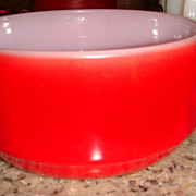 Excellent Fired On Red Anchor Hocking Fire King Handled Soup Bowl