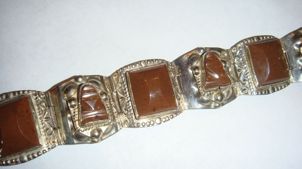 Mexico Sterling Silver Native American or Ethnic Bracelet Beautiful Chocolate Brown Stones, Masks, Etched Silver