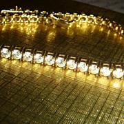 Sterling Silver & CUBIC ZIRCONIA or Clear Rhinestones Tennis Bracelet