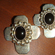Taxco Mexico Sterling & Black Onyx Beaded Cross Earrings For Pierced Ears