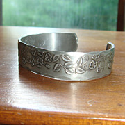 Hand Wrought Pewter Cuff Bracelet With Raised Floral & Leaf Designs