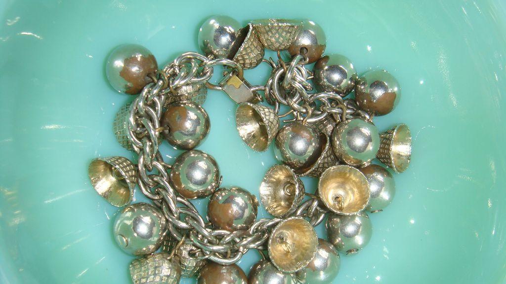 Fun Silver Toned Theme Charm Bracelet Loads of Bells & Balls