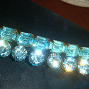 "3"" Aquamarine or Turquoise Rhinestone Brooch / Pin Round Brilliant & Emerald Cut Stones Designer Quality!!"
