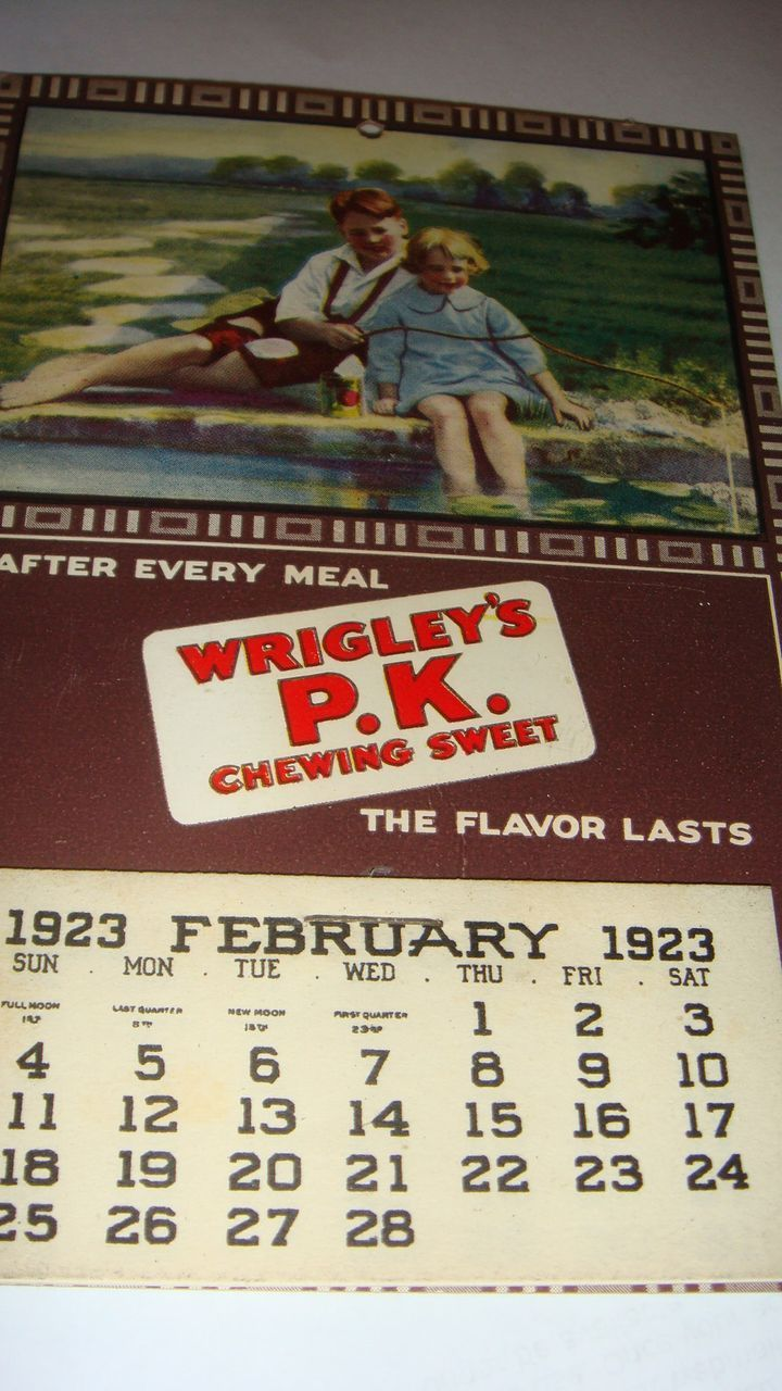 1923-24 Wrigley's P.K.  Postcard Size Advertising Calendar Chewing Sweet Gum, With Children Fishing
