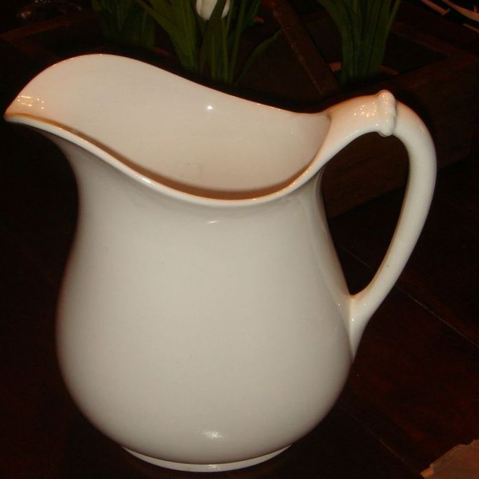 "8 3/4"" Homer Laughlin American White Ironstone Rope Handle Pitcher"