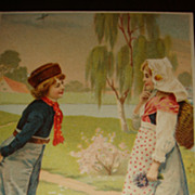 Early Easter Postcard Dutch Boy & Girl With Chicks, Fur Hat, Wooden Shoes, Basket, Apron