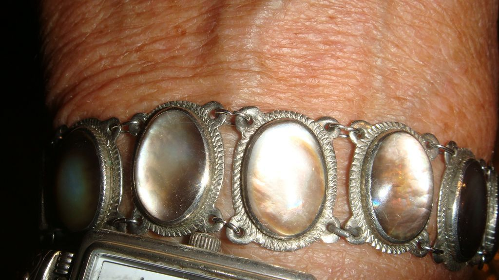Bezel Set Iridescent Glass  or Moonstone Silver Bracelet 12 Links