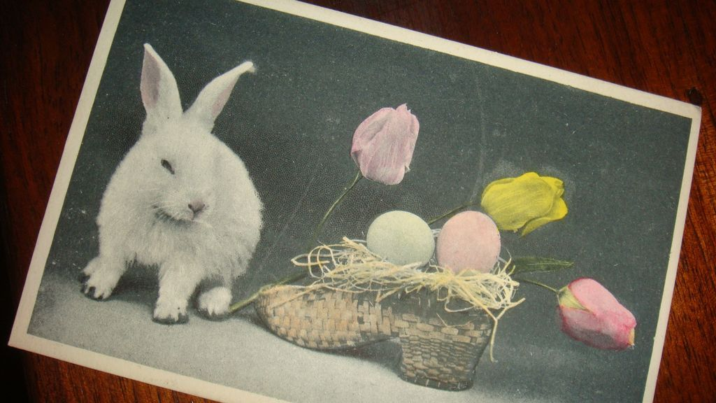 Real Photo Easter Postcard White Bunny With Tulips and Eggs in Straw Shoe Basket