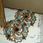 Vintage Filigree Flower Earrings Garnet Red and Turquoise Stones Marked