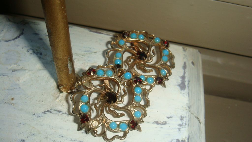 Vintage Filigree Flower Earrings Garnet Red and Turquoise Stones Marked