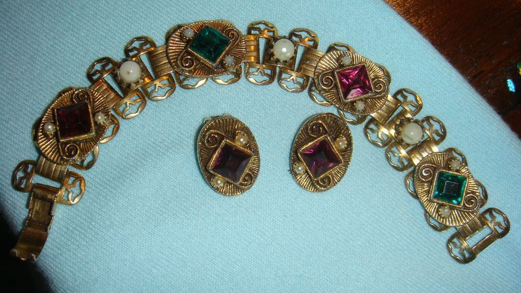 Victorian Etruscan Revival Bracelet, Earrings, Filigree, Book Chain Emerald, Amethyst, Seed Pearls