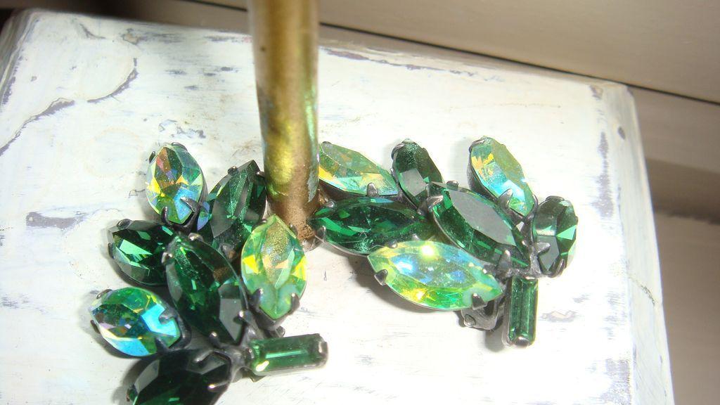 1950's Marquise & Baguette Clip Earrings Emerald Green & Aurora Borealis Vintage