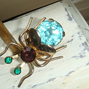 Big Bug Vintage Figural Brooch / Pin /Pendant Jelly Belly Rhinestones