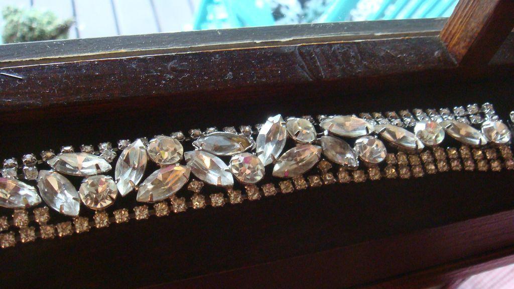 """1"""" Wide WEISS Rhinestone Bracelet Austrian Crystals Marquise, Round Brilliant,"""