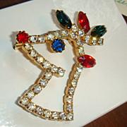 Rhinestone Christmas Rudolph REINDEER Pin Book Piece Brooch Figural Prong Set